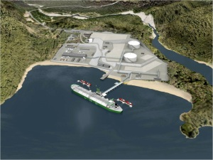 Artist rendering of Kitimat LNG Inc.'s processing plant