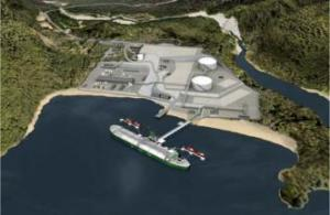 Artist rendering of Kitimat LNG Inc.'s proposed processing plant